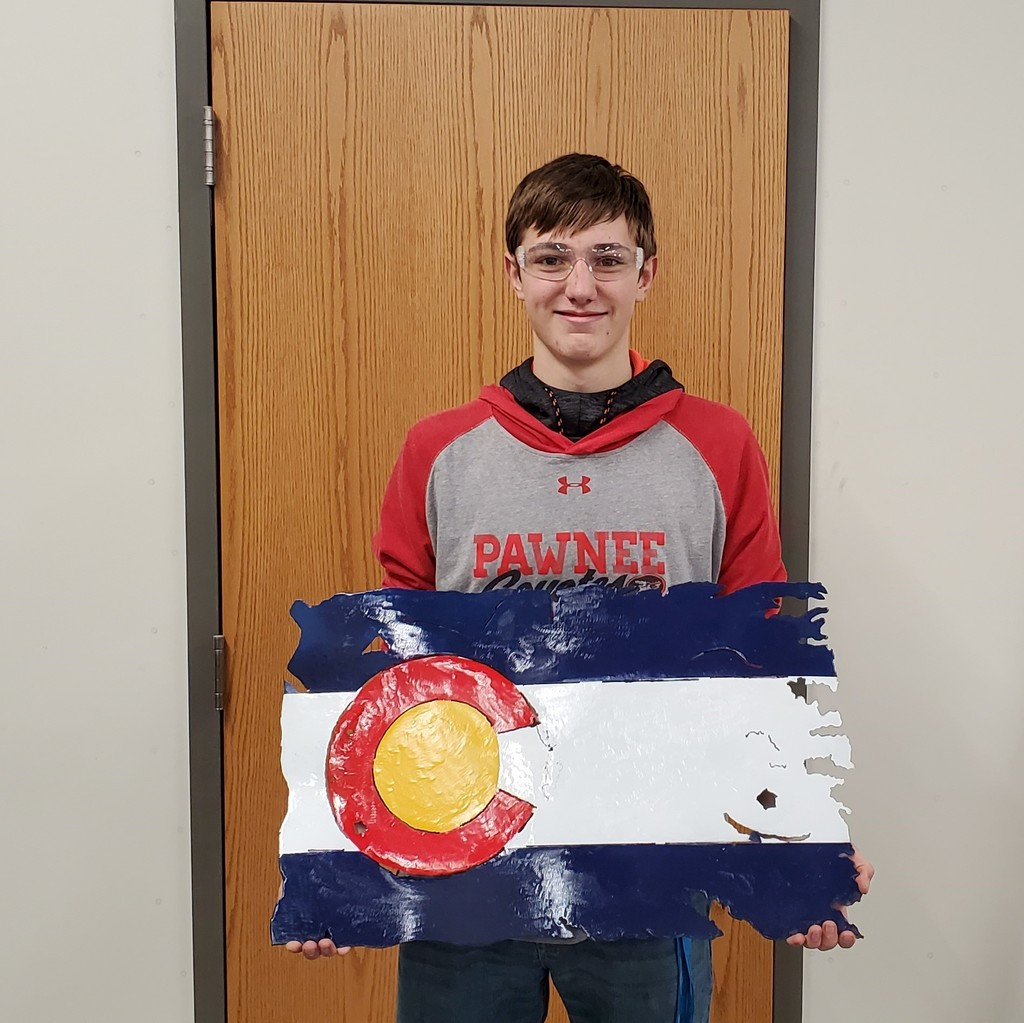 Mayson Cacciola and his metal Colorado flag