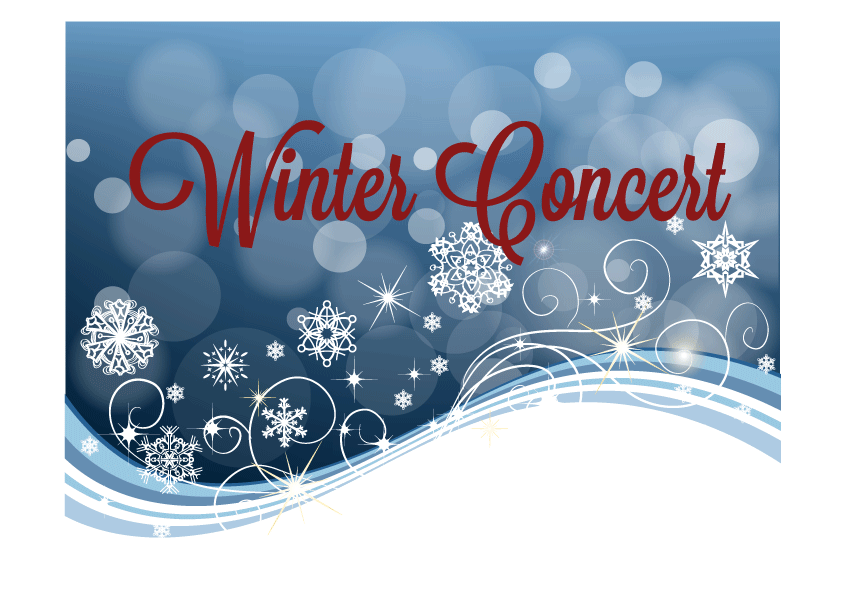 Blue background with snowflakes and red letter saying winter concert