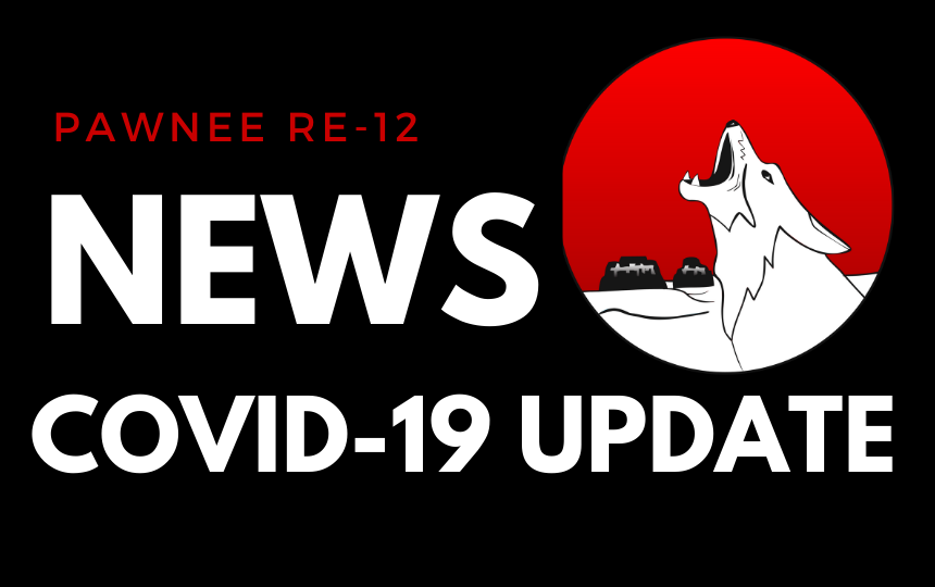Black background with coyote and white letters stating COVID-19 Update